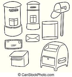 postbox, vecteur, ensemble