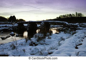 Postbridge in the snow at dawn