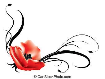 postcard., achtergrond, vector, floral