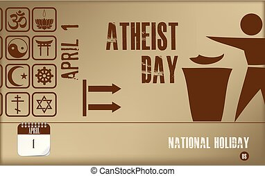 Postcard Atheist day - Post card Atheist day. National...