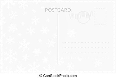 Postcard back template design. Winter postage card templates with snowfall for winter holidays.