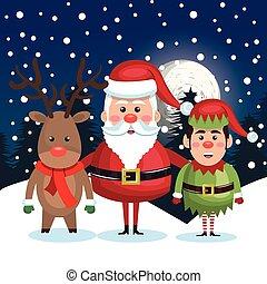 postcard christmas with santa elf reindeer landscape