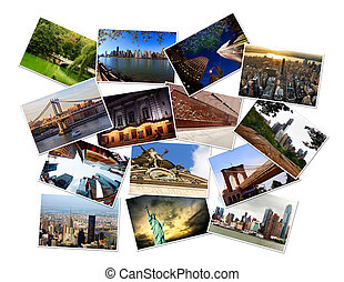 New York, Manhattan, USA - Postcard collage from New York,...
