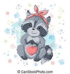 Postcard cute raccoon with heart. Cartoon style Vector