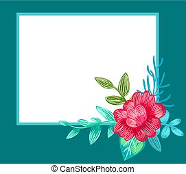 Postcard Decorated with Flower Vector Illustration