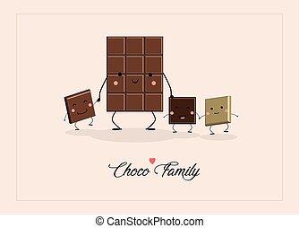 Postcard Design. Chocolate Family. Vector illustration.