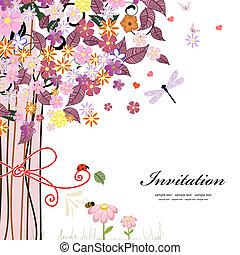 Postcard design with decorative tree