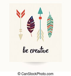 Postcard design with inspirational quote and bohemian...
