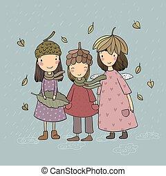postcard., fairies., -, tres, imaginación, otoño, pequeño, ...
