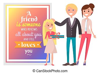 Postcard for Friend and Happy Family Illustration