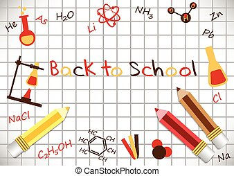 Postcard for Knowledge Day. Back to school. Pencils and formulas from chemistry on page of notebook with cells. Vector illustration