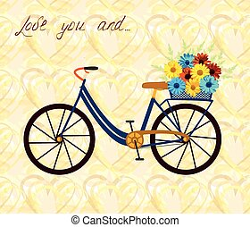 City bicycle with flowers in basket