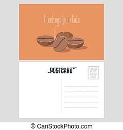 Postcard from Cuba with roasted coffee beans vector illustration