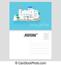 Postcard from Greece vector illustration with Santorini island