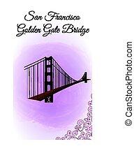Postcard Golden Gate Bridge in San Francisco on watercolor background
