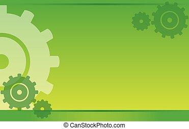 postcard green yellow gears