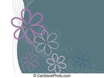 postcard., háttér, vektor, virágos