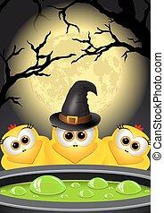 Postcard Halloween. Witches brews a magic potion in cauldron.