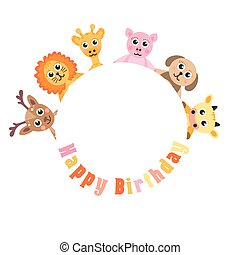 Postcard Happy Birthday, cute animals. Blank space for text baby animals, vector illustration