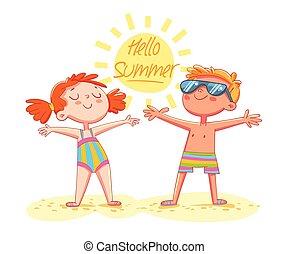 Hello Summer. Boy and girl sunbathe on the beach standing