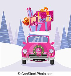 Postcard in a flat cartoon girlish style with a cute pink retro car decorated with a Christmas wreath that carries gift colorful boxes home. The car rides through a frozen forest. Vector illustration
