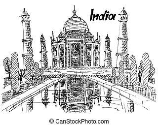postcard india taj mahal sketch drawing