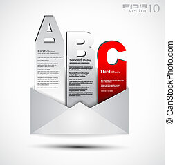 Postcard  menù with 3 choices. Ideal for web usage, depliant for product comparison or business presentation.