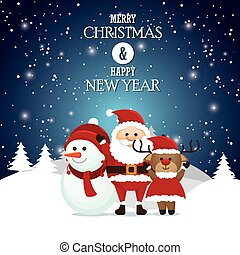 postcard merry christmas and happy new year santa snowman reindeer landscape snow