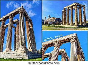 Postcard of ruins ancient temple Zeus, Athens