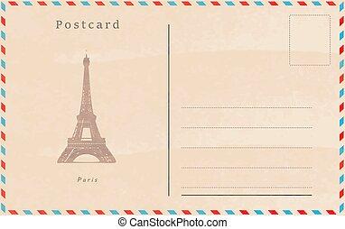 postcard., párizs, szüret, főváros, vektor, world., design.