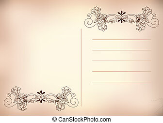 postcard pink - Postcard in the old style. Floral ornament. ...