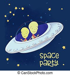 Postcard poster cosmic friends in a flying saucer. Hand drawing. Vector