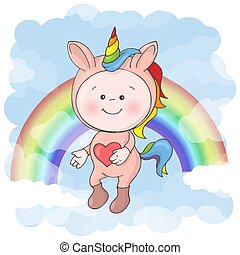 Postcard print with a cute baby in a unicorn costume. Cartoon style.