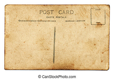 Reverse side of an old grunge postcard