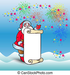 Postcard, Santa Claus with blank sheet of parchment for congratulations and invitation, cartoon on blue background and salute