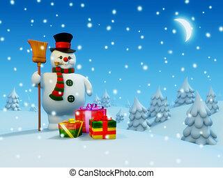 Postcard: snowman and presents
