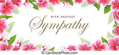 Postcard sympathy floral pink frangipani or plumeria bouquet...