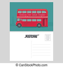 Postcard template with greetings from United Kingdom, UK with red double-decker