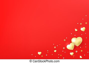 Postcard template with hearts, luminous beads. Valentine's day background