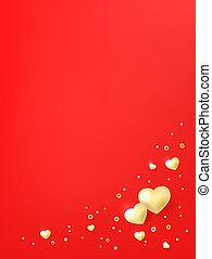 Postcard template with hearts, luminous beads. Valentines day background