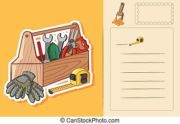 Postcard template with toolbox and tools