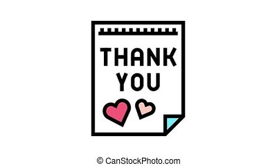 postcard thank you animated color icon. postcard thank you sign. isolated on white background