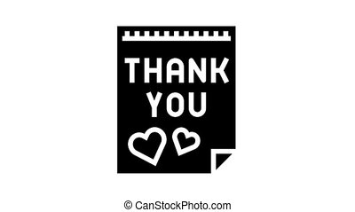 postcard thank you animated glyph icon. postcard thank you sign. isolated on white background