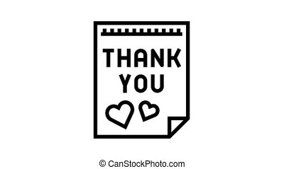 postcard thank you animated black icon. postcard thank you sign. isolated on white background
