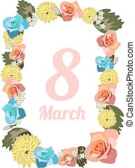 Postcard to March 8 with flowers.