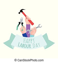 Postcard to the Day of Labor. Working with tools.