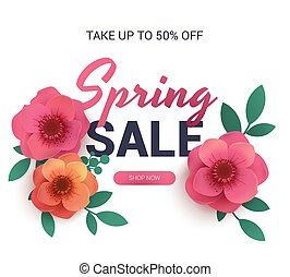 Postcard to the sale of spring, with paper flowers.