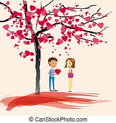 Postcard Valentine s Day, two characters, the boy gives a girl the heart, under a blossoming tree of hearts, love, Cartoon style, vector illustration