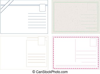 Postcard Vectors - Blank postcard vectors isolated on white...