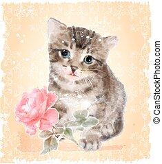 postcard., vindima, macio, rose., aquarela, imitação, gatinho, painting.